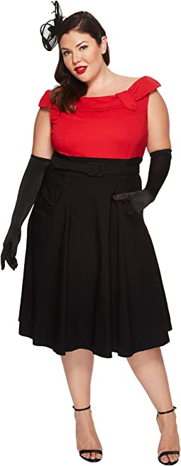 Unique Vintage - Plus Size Color Block Tippi Dress