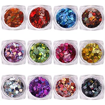 Aysekone 12 Boxes DIY Colored Maple Leaf Sequins Laser Nails Art Glitters Thin Paillette Flakes Stickers Colorful Confetti Sticker Manicure Nail Art Supplies Christmas Nail Manicure Decals Decoration