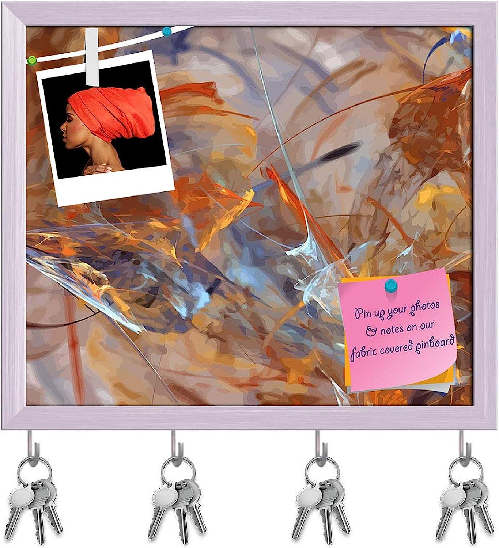 Artzfolio Digital Fractal D4 Key Holder Hooks   Notice Pin Board   White Frame 18.6 X 16Inch