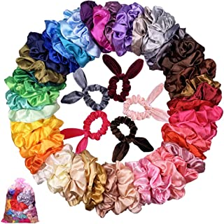55 Pcs Hair Silk Scrunchies Satin Elastic Hair Bands Scrunchy Hair Ties Ropes Scrunchie for Women Girls Hair Accessories - 50 Colors Scrunchies+5 Pack Hair Scrunchies Rabbit Ear Scrunchie Velvet