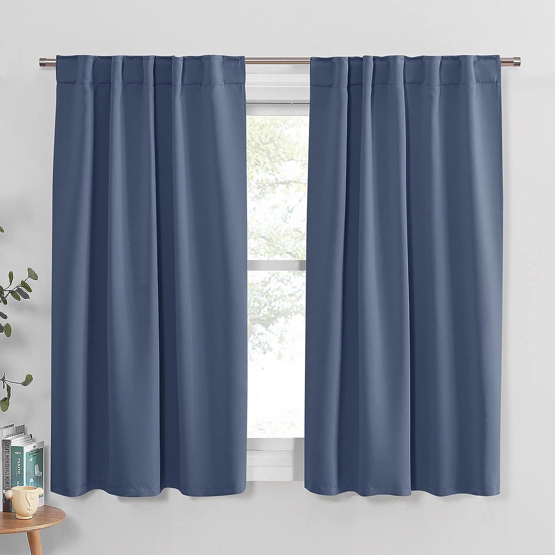 PONY DANCE Room Darkening Curtains - Bedroom Window Treatment Panels Back Tab/Rod Pocket Short Blackout Curtains Light Filtering Elegant Home Decoration, 42 by 45 Inches, Blue Haze, 1 Pair