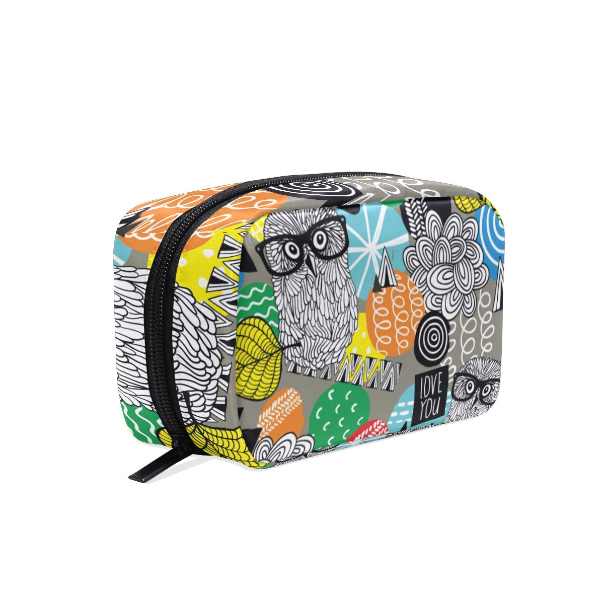 Owls Pattern Makeup Bag Travel Super beauty product restock quality top! Case Max 42% OFF Cosmetic for Train Women