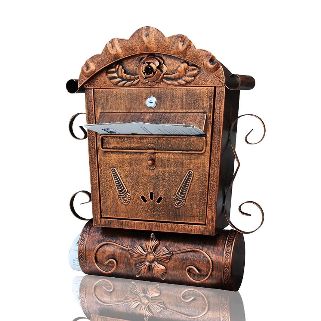再開明日十一HZBb ヨーロッパスタイルのヴィラ郵便箱屋外アンティークの壁吊りメールボックス、壁の装飾