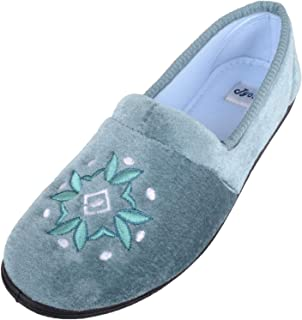 ABSOLUTE FOOTWEAR Womens Smooth Velour Style Slip On Slippers/Indoor Shoes