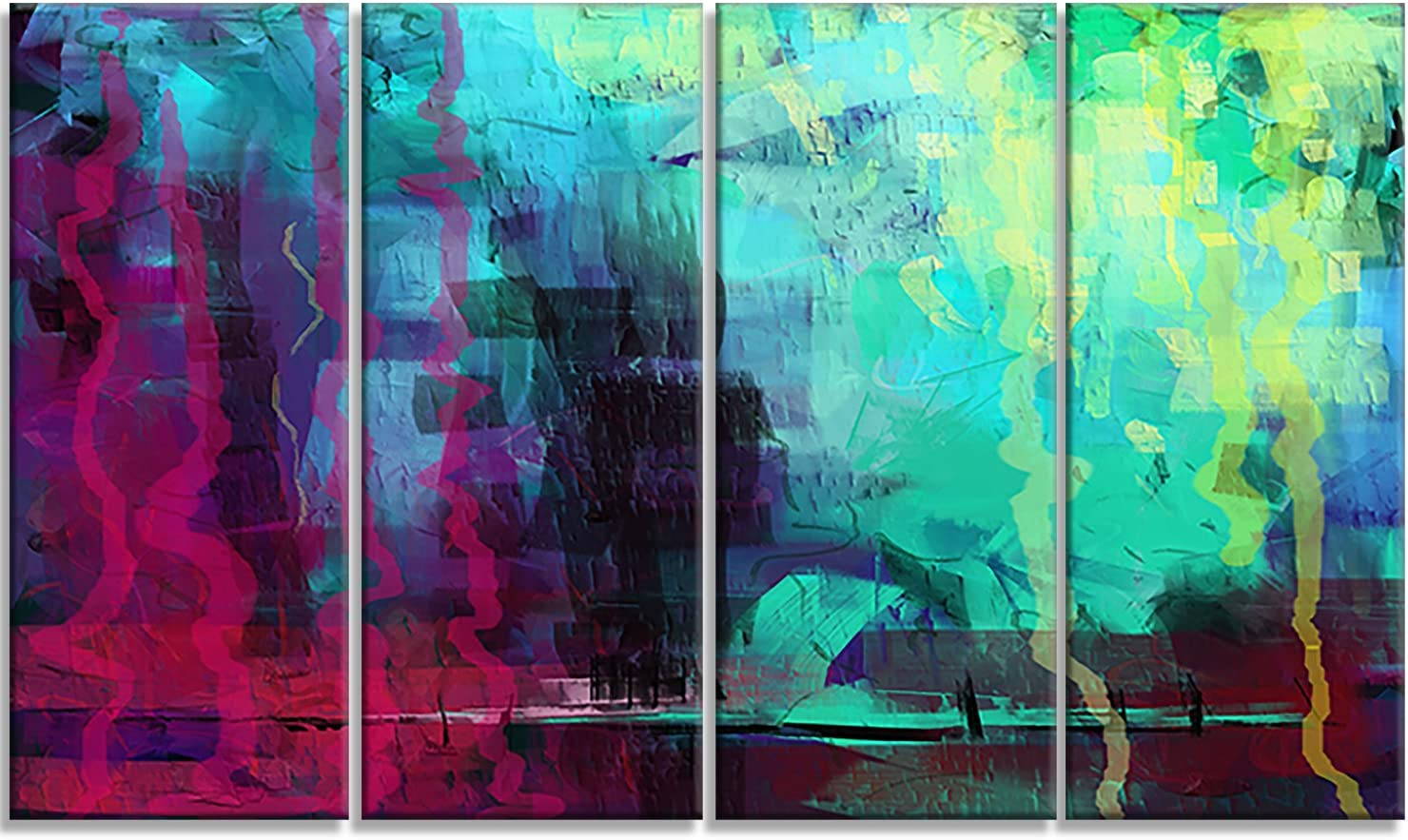 Designart Selling and selling Abstract Digital Virginia Beach Mall Painting-Canvas Print-48x28-4 Pie Art