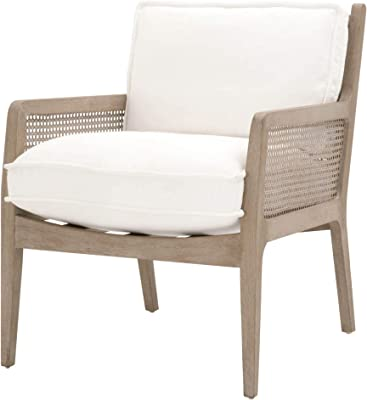Benjara Cane Design Wooden Frame Club Chair with Padded Seating, White and Brown