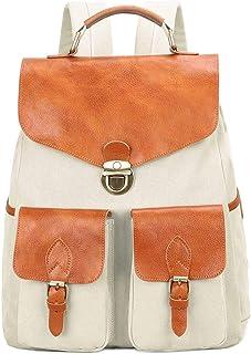 Neuleben Rucksack aus Canvas Leder Rucksäcke Damen für Schule Wandern Uni Outdoor Schulrucksack Daypack mit Laptopfach, Anti Diebstahl Beige/Braun