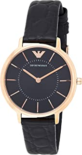 Emporio Armani Women's 'Dress Quartz Stainless Steel and Leather Casual Watch, Black (Ar11064), Analog Display