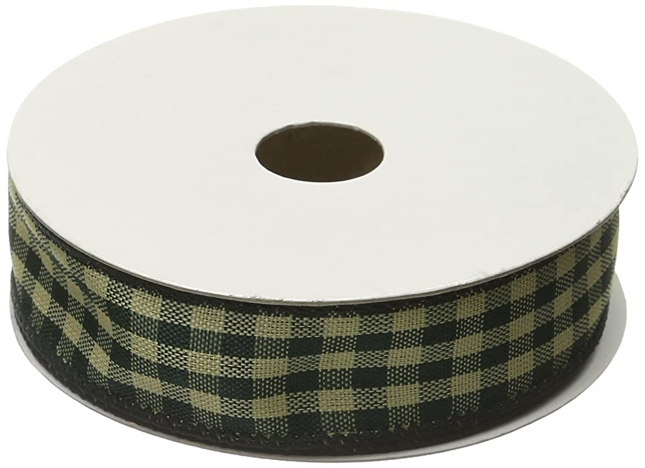 Kel-Toy Wired Country Checker Ribbon, 1/2-Inch by 10-Yard, Hunter Green/Beige