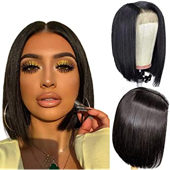 ALI GRACE Pre Plucked Bleached Knots Lace Closure 4x4 Bob Wig 150% Density Straight Wigs Human Hair for Black Women 9A Remy Human Hair Wigs with Baby Hair Swiss Lace 12 inch