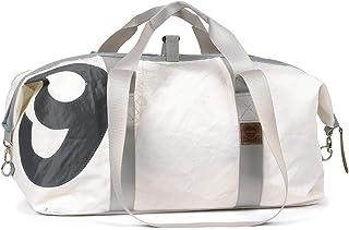 Reisetasche recyceltes Segeltuch Kutter XL Weiss Zahl Gurte Grau von 360 Grad