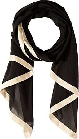 Pop Color Satin Border Chiffon Scarf