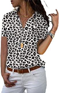 Howely Women Floral Printed Short-Sleeve Summer Button Classic Collar Tops