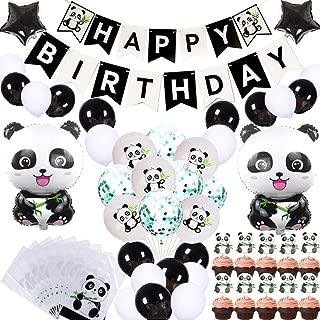 69Pcs Cute Panda Party Supplies for Girls Panda Happy Birthday Banner Panda Balloons Panda Cupcake Toppers Panda Goodie Bags for Kids Boys Girls Panda Theme Birthday Party Baby Shower Party Favor Decorations
