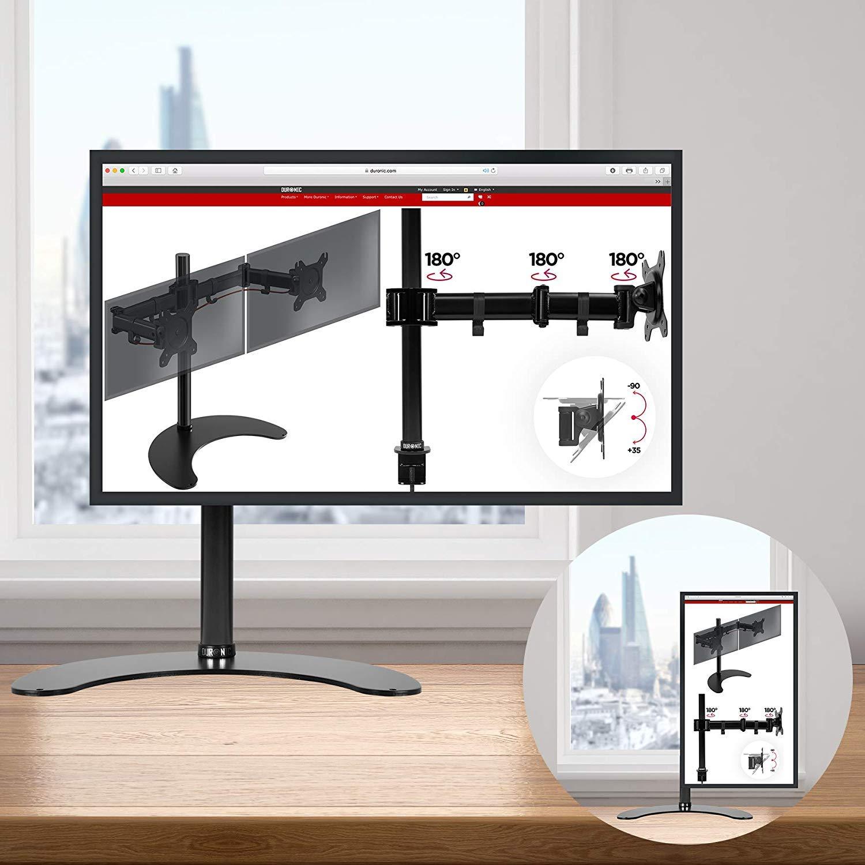 Duronic DM25D1 Soporte para Pantalla de 13 a 27 Pulgadas - Monitor PC LCD LED – Brazo de 19 cm – Base de pie de apoyo fija - Giratorio e Inclinable -