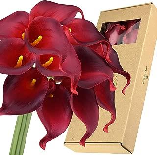 FiveSeasonStuff Real Touch Calla Lilies Artificial Flowers Wedding Bridal Bouquet Home Décor Party |Floral Arrangments | 15 Stems (Berry Red)