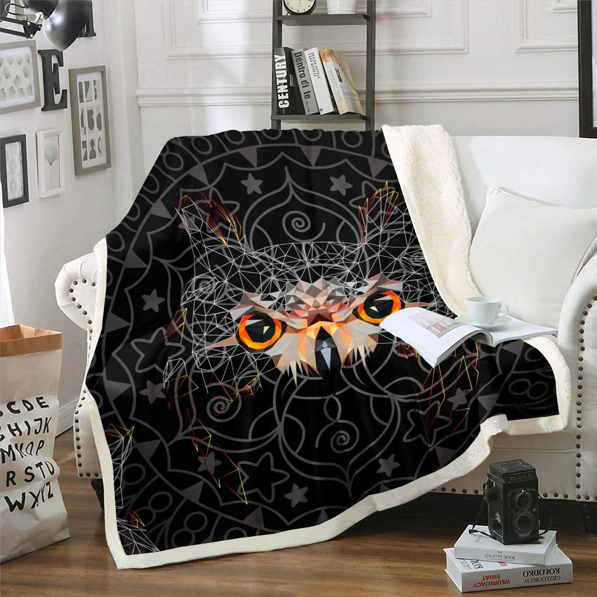 Castle Fairy Black Eyes Owl Bird Blanket Sherpa Sofa Couch Chair Rapid rise Ranking integrated 1st place