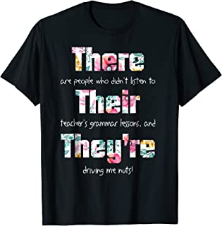 There Their They're T shirt English Grammar Funny Teacher