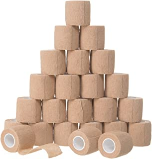 "24 Pack - 2"" x 5 Yards, Self-Adhesive Bandage Rolls, Strong Elastic Self Adherent Cohesive Tape, First Aid Wrap Bandages, for Wrist and Ankle Sprains & Swelling, FDA Approved, by California Basics"