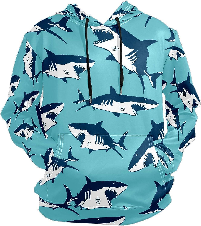 Men's Sport Hoodie Ocean Shark Cartoon Big and Tall Hoodies for Men Women Oversized Hooded Sweatshirt Hip Hop Pullover Hoodie Midweight Hood for Boys Girls