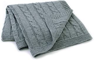 Assby Baby Blanket Cable Knit Toddler Blanket for Boys Girs(Grey,30