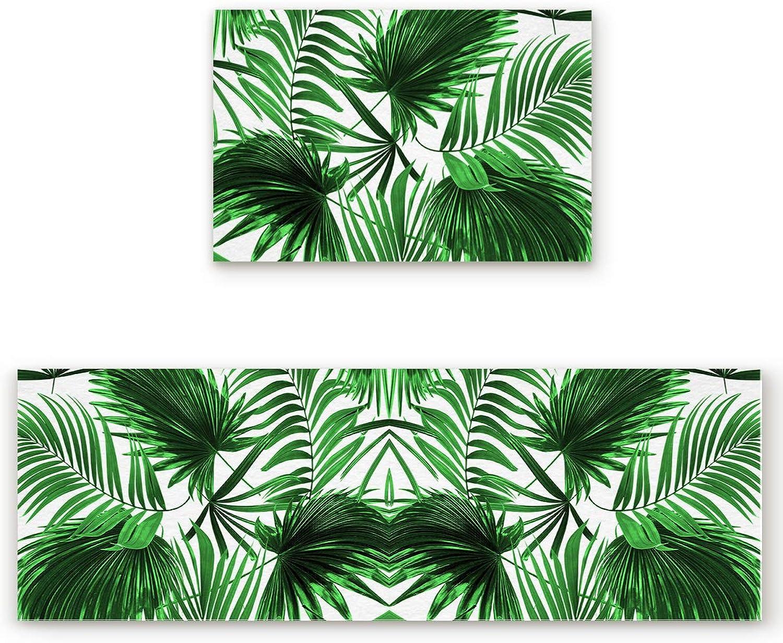 KAROLA 2 Piece Kitchen Mat Non-Slip Doormat Bathroom Runner Rug Set - Tropical Green Palm Leaves 19.7 x31.5 +19.7 x63