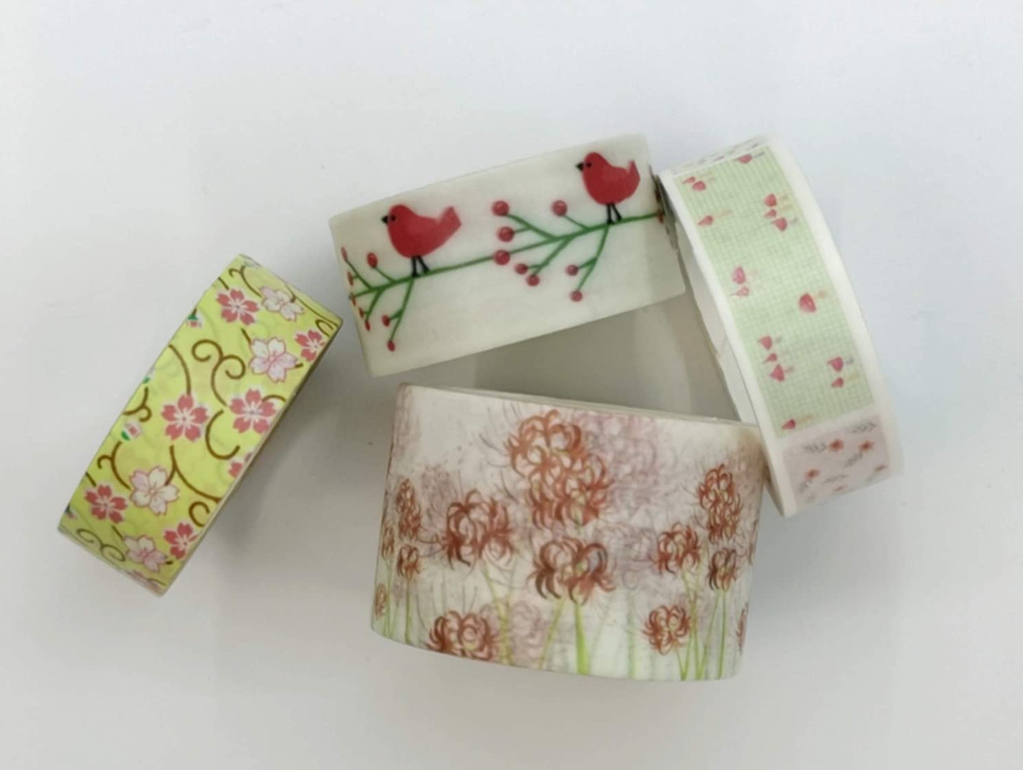 Summer Floral and Birds Print washi Tape Set of 4 Rolls