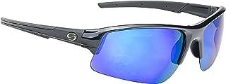 Strike King S11 Lanier Polarized Sunglasses, UVA/UVB Protection, Matte Black Frame, Multi-Layer White Blue Mirror Gray Base Lens