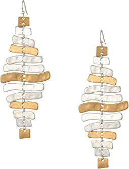 Chandelier with Silver and Gold Plated Sculptural Sticks Earrings
