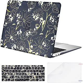 MOSISO MacBook Air 13 inch Case 2019 2018 Release A1932 with Retina Display, Plastic Pattern Hard Shell & Keyboard Cover & Screen Protector Only Compatible with MacBook Air 13, Light Yellow Daisy