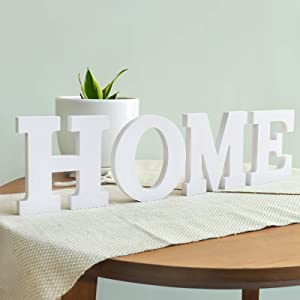 Ivenf Rustic Home Sign Decor, Letter Home Table Sign Mantel Sign Wall Decor, Freestanding with Double Side Glue, Decorative Word Signs for Home Decorations, White