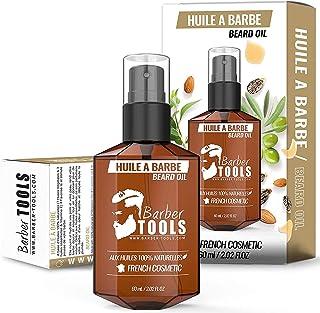 Huile Barbe aux huiles 100% naturelles 60ml - MADE IN FRANCE - Favorise la Pousse de la Barbe - À base d'Huile de RICIN, 7...