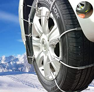 Newest Super Easy HD Emergency Traction Snow Mud Metal Tire Chains Anti Skid Multi-functional Universal Fit for Pickup SUV Car Van Light Truck ATV Jeep Motorcycle Honda Toyota Nissan VW Ford BMW GMC