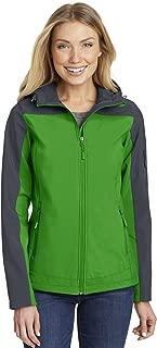 Port Authority Ladies Hooded Core Soft Shell Jacket. L335, Vine Green/Battleship Grey, 2XL