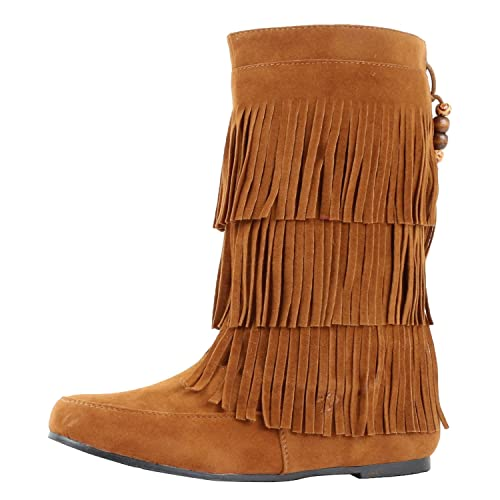 9fbea91ab West Blvd Womens Lima Suede Fringe Moccasin Boots