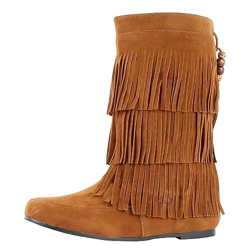 58309c238c3 West Blvd Womens Lima Suede Fringe Moccasin Boots