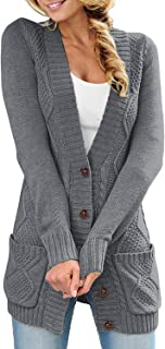 Women Open Front Pocket Cardigan Sweater Button Down Knit...