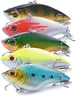 SunMine Fishing Lures 5pcs 7cm / 15ml Fishing Bass Lures VIB Lure Shallow Swimbait Crankbait with Treble Hook 3D Fishing E...