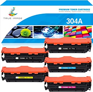 True Image Compatible Toner Cartridge Replacement for HP CC530A CC531A CC532A CC533A CE410X (Black Cyan Yellow Magenta, 5-Pack)
