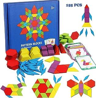 VR Champs 155 Pcs Wooden Pattern Blocks Set - Geometric Shape Puzzle Kindergarten Classic STEM Educational Montessori Tangram Toys with 24 Pcs Design Cards for Kids Boys Girls Ages 4-8