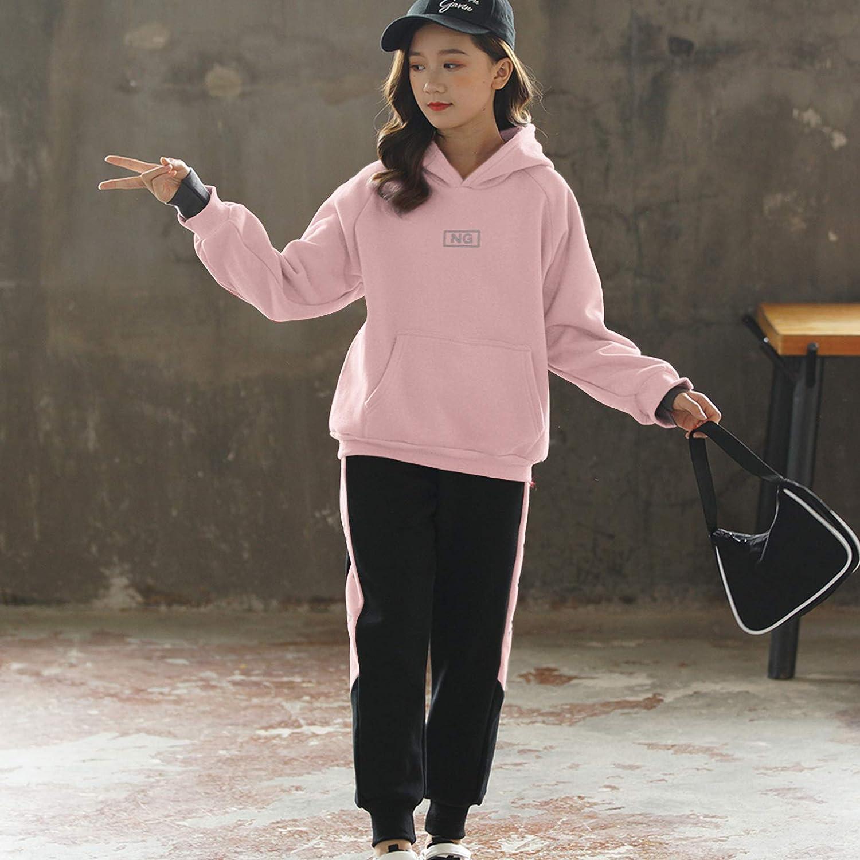SXSHUN Enfant Fille Surv/êtement Ensembles de Sport Encapuchonn/é Jogging Printemps Costume Sweatshirt+Pantalon Combinaison de Jogging