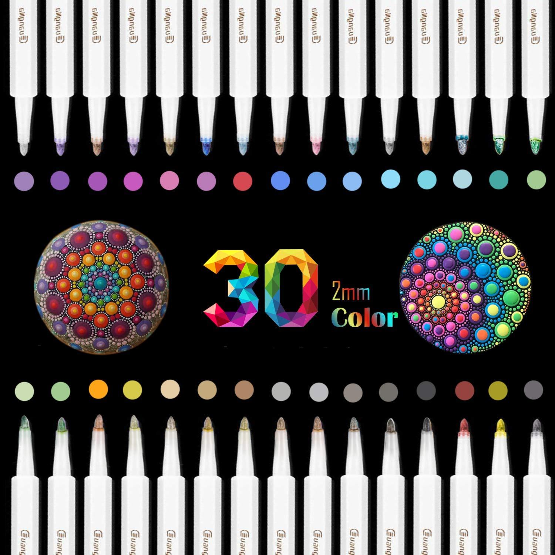 Rotuladores metálicos premium, 30 colores scrapbooking materiales para Cerámica, Porcelana, Piedras, Madera, Tejido, Taza, DIY, álbum, cumpleaños por bricolaje Tarjeta: Amazon.es: Hogar