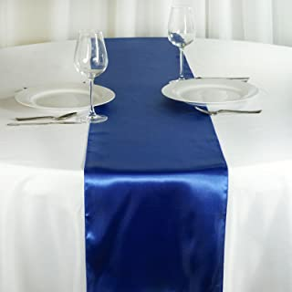 BalsaCircle 10 pcs 12 x 108 inch Royal Blue Satin Table Runners Wedding Table Top Party Supplies Reception Linens Decorations