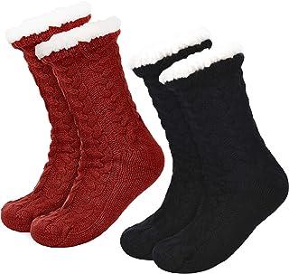 2 Pares de Calcetines de Invierno de Mujeres Calcetines Antideslizantes Suave Calcetines Forrados de Lana Calcetines Esponjosos de Navidad