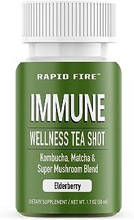 Rapid Fire Immune Wellness Tea Shot, Kombucha, Matcha, Super Mushroom Blend, Elderberry Flavor, 1.7 oz. (7 Day Supply)