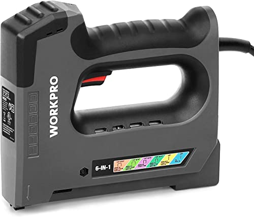 discount WORKPRO 6 in 1 Staple online Gun, Electric Stapler Tacker, outlet sale 110V Corded Brad Nailer for DIY Project of Woodworking online