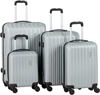 """Murtisol Travel 4 Pieces ABS Luggage Sets Hardside Spinner Lightweight Durable Spinner Suitcase 16"""" 20"""" 24"""" 28"""", 4PCS Silver"""
