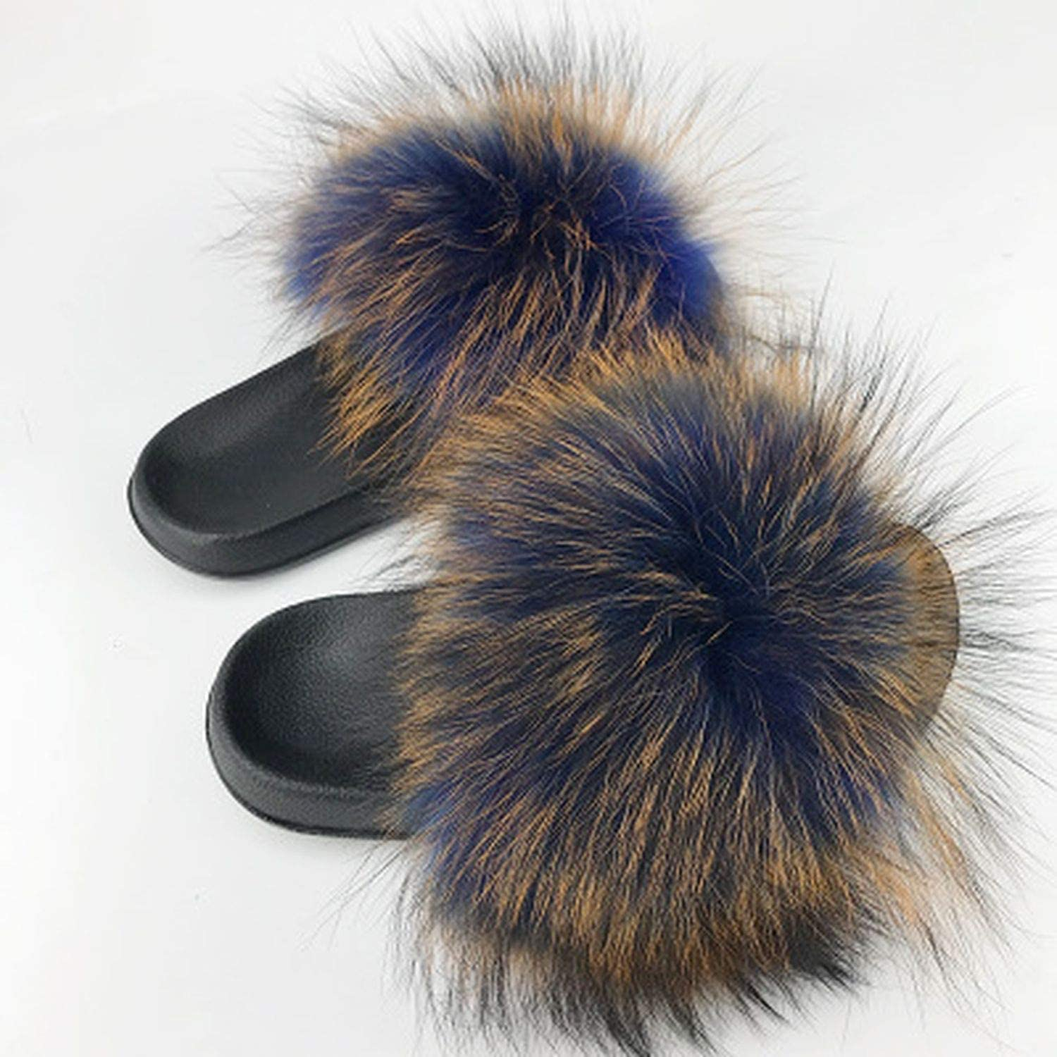 High end Fur Slippers Women Sliders Casual Fox Hair Flat Fluffy Home Summer Big Size 45 Furry Flip Flops shoes Wholesale