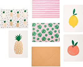 """Outshine 48 Blank Greeting Note Cards with Envelopes in Cute Storage Box (6 Designs)   Bulk All Occasion Notecards   3.5"""" x 5"""" Cards for Thank You Notes, Business   Pineapple Lemon Stationary Gift"""