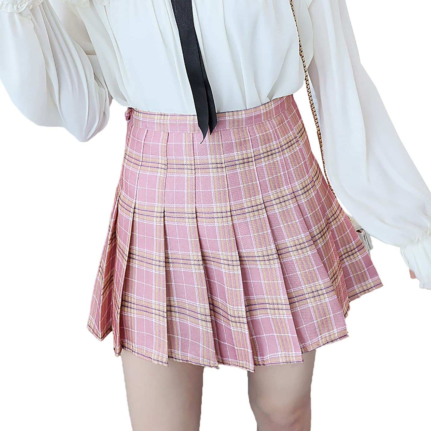 IKIIO Women's Summer Casual Plaid Pleated Relaxed Fit Skirt Flared Swing A Line Skirts